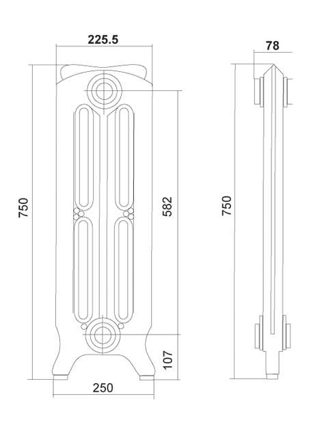 """Комплектующие для чугунного радиатора.  Диаметр подключения: 1/2 """" дюйм Цвет: серый чугун с лаковым покрытием Рабочее..."""